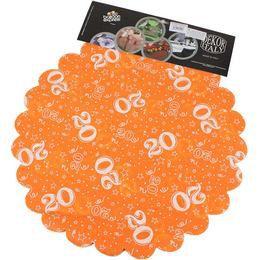 20-as Narancssárga Szülinapi Kerek Dekorációs Textil - 48 cm-es, 24 db-os