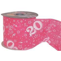 20-as Pink Szülinapi Dekorációs Szalag, 12,5 cm, 50 méteres