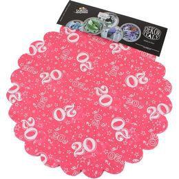 20-as Pink Szülinapi Kerek Dekorációs Textil - 48 cm-es, 24 db-os