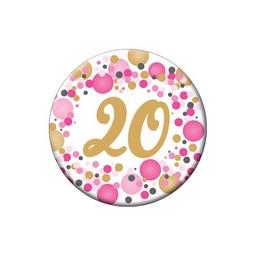 20-as Rózsaszín Pasztell Konfettis Kitűző