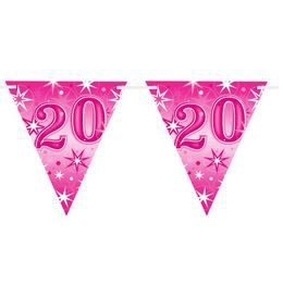 20-as Rózsaszín Sparkle Parti Zászlófüzér - 360 cm