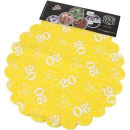20-as Sárga Szülinapi Kerek Dekorációs Textil - 48 cm-es, 24 db-os