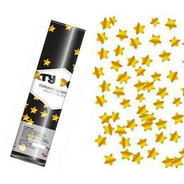 20 cm-es, Arany - Fényes Csillag Alakú Fóliákat Kilövő Konfetti Ágyú