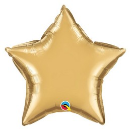 Arany (Chrome) Csillag Alakú Héliumos Fólia Lufi, 51 cm