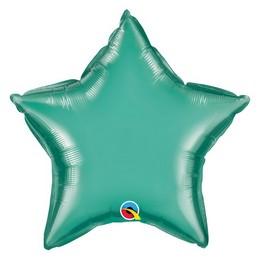Zöld (Chrome) Csillag Alakú Héliumos Fólia Lufi, 51 cm