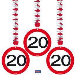 20-as Számos Sebességkorlátozó Szülinapi Parti Függő Dekoráció - 3 db-os
