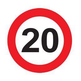 20-as Közlekedési Sebességkorlátozó Tábla Szülinapra - 40 cm