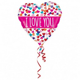 21 inch-es Colorblast I Love You Pink Banner Fólia Lufi