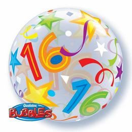 16 Brilliant Stars Bubble Lufi Születésnapra - 56 cm
