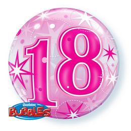 22 inch-es 18 Pink Starburst Sparkle Szülinapi Héliumos Bubbles Lufi