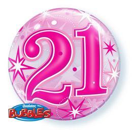 21-es Rózsaszín Csillag Mintás Héliumos Buborék Lufi, 56 cm