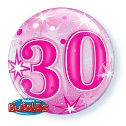 30-as Rózsaszín Csillag Mintás Héliumos Buborék Lufi, 56 cm