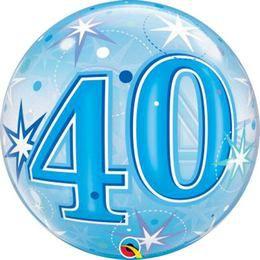 40-es Kék Csillag Mintás Héliumos Buborék Lufi, 56 cm