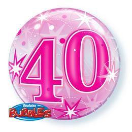 22 inch-es 40 Pink Starburst Sparkle Szikrázó - Csillag Mintás Szülinapi Bubbles Lufi