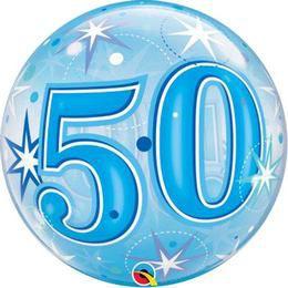 50-es Kék Csillag Mintás Héliumos Buborék Lufi, 56 cm