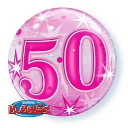 50-es Rózsaszín Csillag Mintás Héliumos Buborék Lufi, 56 cm