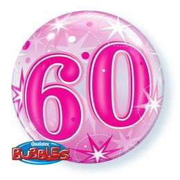 60-as Rózsaszín Csillag Mintás Héliumos Buborék Lufi, 56 cm
