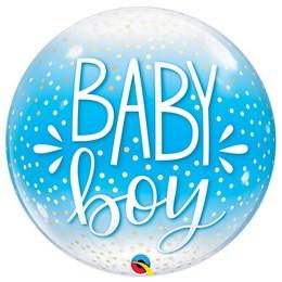 Baby Boy Pöttyös Kék Héliumos Buborék Lufi, 56 cm