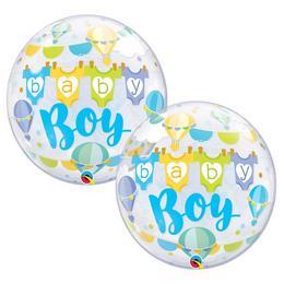 22 inch-es Baby Boy Hot Air Balloons Bubble Lufi Babaköszöntőre