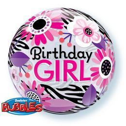 22 inch-es Birthday Girl Virágos Zebra Stripes Szülinapi Héliumos Bubble Lufi
