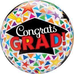22 inch-es Congrats Grad Caps & Triangle Ballagási Bubbles Lufi