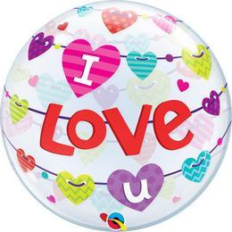 22 inch-es I Love U Banner Hearts Szerelmes Héliumos Bubble Lufi