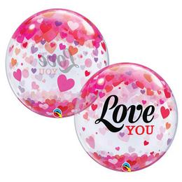 22 inch-es Love You Confetti Hearts Szerelmes Bubble Lufi