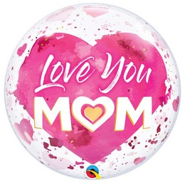 Love You Mom Mintás Héliumos Buborék Lufi, 56 cm