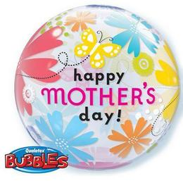 22 inch-es Mother's Day Butterfly Floral Anyák Napi Bubble Lufi