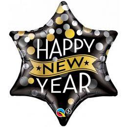 22 inch-es New Year Confetti Dots Black Csillag Fólia Lufi