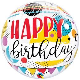 22 inch-es Színes Pöttyös - Birthday Circles & Dots Szülinapi Bubble Lufi