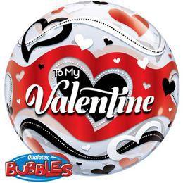 22 inch-es To My Valentine Banner Hearts Szerelmes Héliumos Bubble Lufi