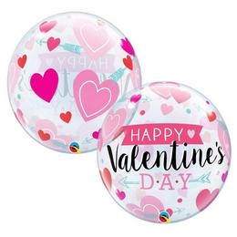 22 inch-es Valentine's Arrow and Hearts Szerelmes Héliumos Bubble Lufi
