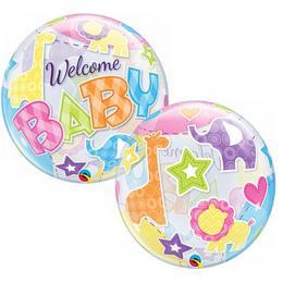22 inch-es Welcome Baby Animal Patterns Héliumos Bubbles Lufi