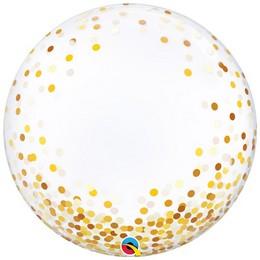 Arany Konfetti Pöttyös Mintás Héliumos Buborék Lufi, 61 cm