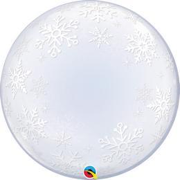 Hópehely Mintás Karácsonyi Deco Buborék Lufi, 61 cm