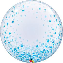 Kék Konfetti Pöttyös Mintás Dekorációs Héliumos Buborék Lufi, 61 cm