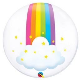 24 inch-es Rainbow Clouds - Szivárvány Felhőkkel Mintás Lufi