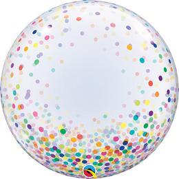 Színes Konfetti Pöttyös Mintás Dekorációs Héliumos Buborék Lufi, 61 cm