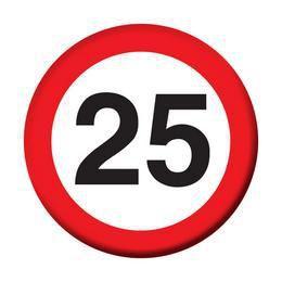 25. Szülinapi Sebességkorlátozó Kitűző