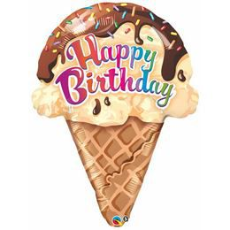 27 inch-es Tölcséres Fagyi - Ice Cream Cone Szülinapi Fólia Lufi