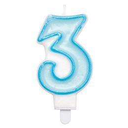 3-as Kék Keretes Szülinapi Számgyertya Tartóval