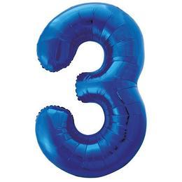 34 inch-es 3 Kék - Blue Számos Super Shape Fólia Lufi
