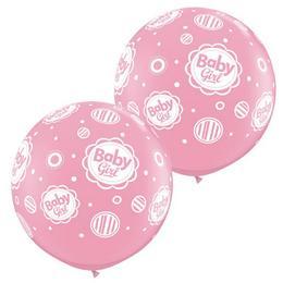 3 feet-es Baby Girl Dots A-Round Rózsaszín Lufi (2 db/csomag)