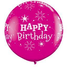 3 feet-es Birthday Sparkle-A-Round Wild Berry Szülinapi Lufi (2 db/csomag)