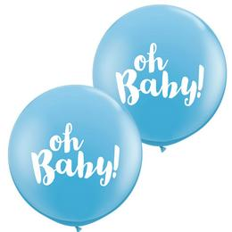 Oh Baby! Kék Kerek Latex Lufi Babaszületésre, 91 cm, 2 db