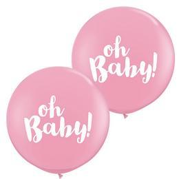 Oh Baby! Pink Kerek Latex Lufi Babaszületésre, 91 cm, 2 db