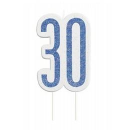 30-as Csillámos Kék Számgyertya