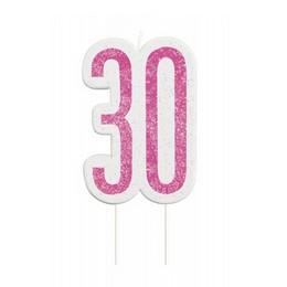 30-as Csillámos Pink Számgyertya