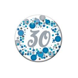30-as Kék Pasztell Konfettis Kitűző